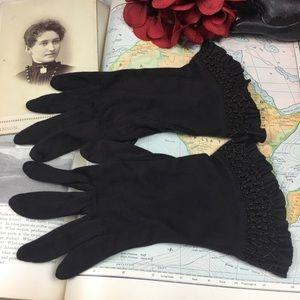 Vintage 40s 50s Brown Formal Wrist Evening Gloves